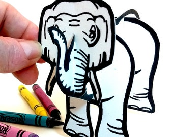 Elephant - Coloring Printable  Toy