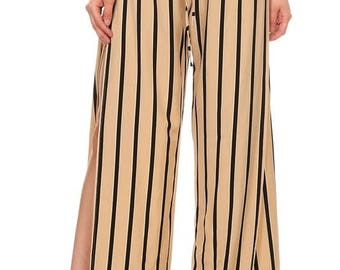 striped high waisted pants in a relaxed fit with a drawstring elastic wide legs and high side slite
