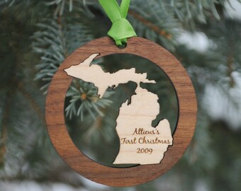 Personalized State Christmas Ornament ANY STATE, COUNTRY or Island Baby's First Christmas, Our First Home, Wedding Gift, Destination Wedding