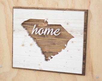 """South Carolina State Wood Plaque Silhouette with """"Home"""""""