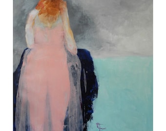 """Woman portrait art/girl figure/abstract woman in pink/red head girl figurative art """"Ginger Mae"""""""