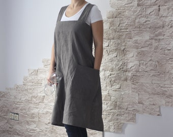 Linen Woman Apron, Japan Apron, Man Apron, Linen Apron, Pinafore Apron, Apron for Woman, Apron for Man,  No-ties Apron, Square Cross Apron,
