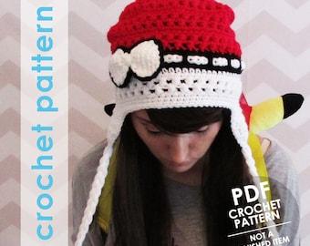 crochet pokemon pattern, pokeball hat, pokemon hat, pokemon anime, crochet pokemon hat, winter hat, earflap hat, cosplay costume halloween