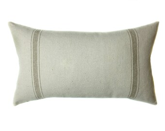 Grain Sack Pillow Cover   Modern Farmhouse   Tan Lumbar