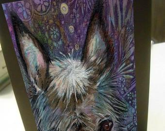 Greeting card print of original art- colorful burro donkey Zentangle spirit animal