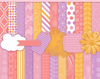 Girly Digital Background Paper Pink Orange Purple with BONUS Clip Art - Commercial Use - Girly