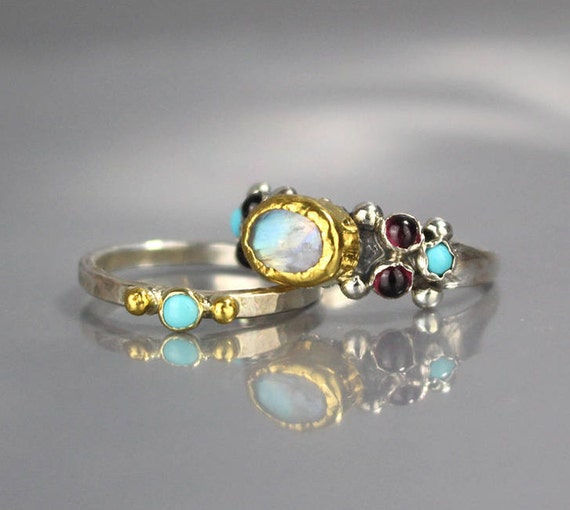 Turquoise Wedding Ring Set Turquoise Ring Stacking Rings