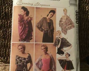 McCalls pattern 3880 -Evening Elegance  wraps - 7 unique wraps, all sizes to choose from, easy sew - great for Christmas  and more.