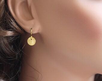 Gold Dot Earrings - Simple Earrings - Brushed Gold Drop Earrings - Dainty Disc Earrings - Everyday Earrings - Brushed Discs - Disc Earrings
