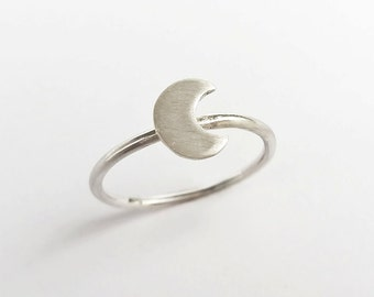 Sterling Silver Crescent Moon Charm Stacking Ring