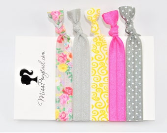 Floral Hair Ties, Gray, Grey, Pink, Yellow, FOE Hair Ties, Hair Accessories, Ponytail Holder, Knotted Hair Ties, missponytail