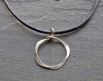 Hammered Silver Necklace, Sterling Silver Necklace, Silver Circles Necklace, Circle Pendant, Leather Cord Necklace, Modern Necklace