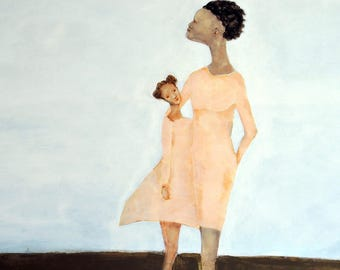 """Mom daughter wall art. darker skin mother and child sisters art. Black mother wall art room decor. Mother's Day gift """"Sweet-Mae and Bebe"""""""