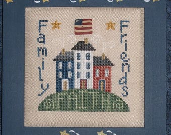 FAITH, FAMILY & FRIENDS; Digital Pattern for Cross Stitch; Instant Pdf Download; Quick-to-Stitch Patriotic Folk Art Design