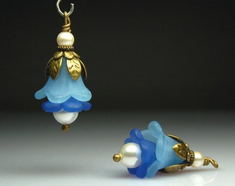 Bead Dangles Vintage Style Blue Lucite Flowers Pair BL427