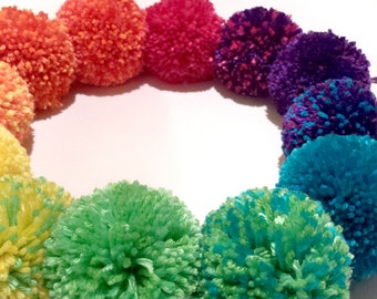 """Handmade Pom Poms - Available In 1"""", 2"""", 3"""" or 4"""" - Magical  Decorations, Choose Your Color - Rainbow Holiday Decor, Keychain Dangles, DIY"""