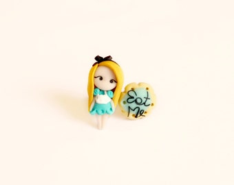 Alice in wonderland inspired stud or magnetic earring (Hypoallergenic stud or  magnet for no pierced ears).Alice jewelry.Disney jewelry.Clay