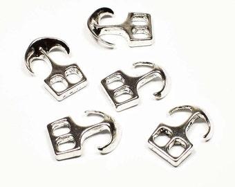 8 Anchor Clasp for Leather Bracelet, Antique Silver