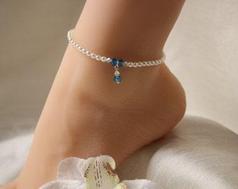 Something Blue Anklet Swarovski Crystal Pearl Beach Jewelry Bridal Anklet Wedding Anklet Beach Wedding Jewelry Ankle Bracelet
