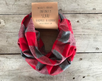 READY TO SHIP Infinity Scarf - Plaid - Flannel - Oversized - Red + Grey - Warm - Winter- Cozy - Unisex - Gray