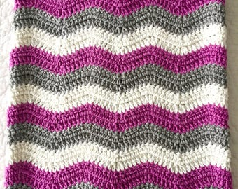 Baby Blanket, Crocheted Cotton, Gray, White, Orchid, New Baby Gift, Handmade Receiving Blanket, Stroller, Car Seat, Coverlet Blanket