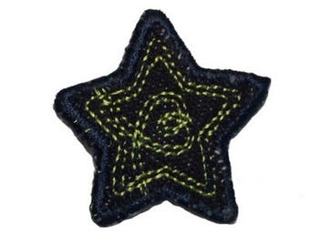 ID 3430C Blue Jean Stitched Star Patch Badge Craft Embroidered Iron On Applique