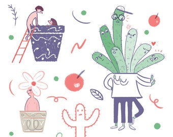 Cacti & Humans - Stickers by Marianna Madriz