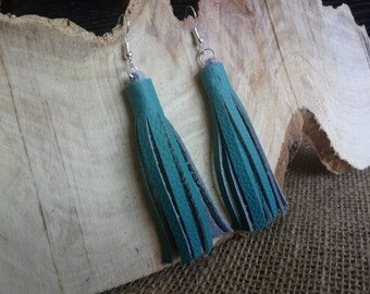 Beautiful teal coloured  real leather tassel style drop earrings - dangly / hook / silver plated