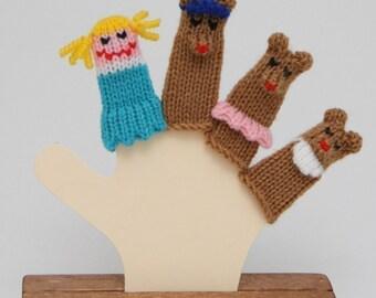 Goldilocks and the Three Bears Finger Puppet Set (Includes Goldilocks, Papa Bear, Mama Bear, and Baby Bear.)  We can create custom orders.