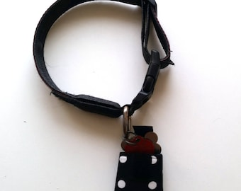 Dog tag silencer, Dog tag pouch, Dog tag holder, Dog ID tag silencer, Dog ID tag pouch, Dog tag cover, Black with White Polka Dots