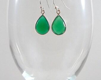 Green Onyx Earrings Onyx Gemstone Earrings Green Gemstone Earrings Green Sterling Earrings Green Onyx Drop Earrings Green Teardrop Earrings