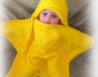cocoon starfish, baby blanket, newborn - 6 - 9 months, gift ideas,all for babies !!!