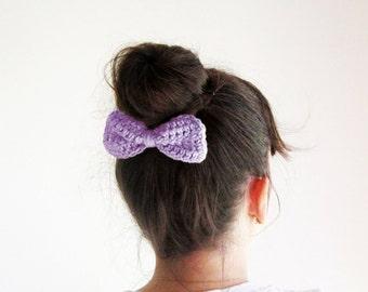 Lilac crochet hair bow, Light purple hairbow, Lilac hair bow clip, Crochet lilac bow clip, Cute hair bow, Girl's hairbow, Sock bun bow