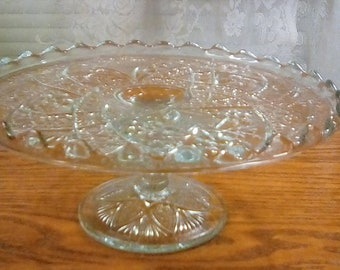 Antique Glass Cake Stand / Indiana Glass Antique 1913 Cake Stand / Glass Cake Stand Garden Pink Pattern / Antique Cake Stand / Cake Stand