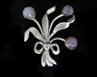Fred Davis Vintage Mexican Silver and Amethyst Floral Brooch
