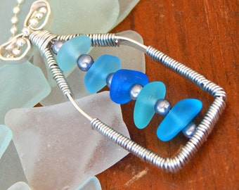 Blue Shades of Seaglass Wire Wrapped Pendant