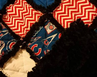 Cubs Toddler Rag Quilt- Chicago Cubs- Sports Team- Toddler/Throw Size