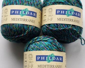 Teal yarn, turquoise yarn, multicolour yarn, cotton yarn, Phildar Mediteranee, knitting yarn, crochet yarn, yarn lot, super fine yarn, cheap