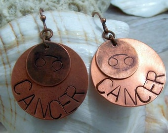 Hand stamped Copper Zodiac Earrings,Jewelry