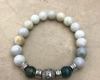 Agate Beads with Silver Bali Bead.