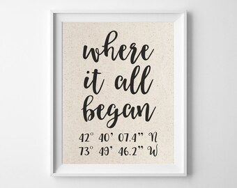 Where It All Began | Latitude Longitude GPS Coordinates | 100% Cotton Anniversary Gift | Where We Met | Wedding Location