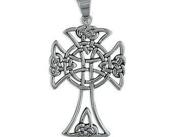 Open Celtic Knot Sterling Silver Cross