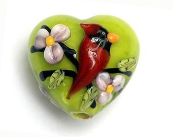 Spring Red Cardinal Heart Focal Bead 11834405 - Handmade Glass Lampwork Bead