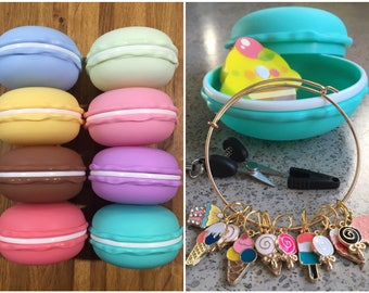 Macaron Knitting Kit - travel knit notions for macaroon and cupcake lovers! Tape measure/mini scissors/stitch markers