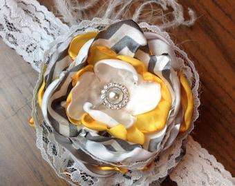 Stunning lace headband flowers, Chevron, pearls, lace, and rhinestones