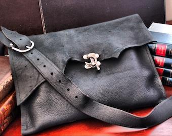 Leather Messenger Bag Raw Edge Leather Shoulder Bag Laptop Bag Rustic Man Bag - Everyday Carry Men's Satchel Crossbody Steampunk Leather Bag