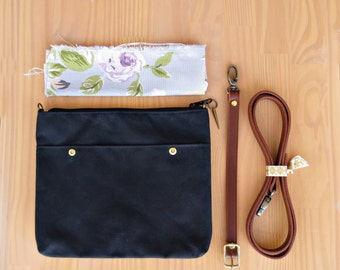 Black Waxed Canvas Crossbody Purse with Floral Lining and Leather Strap, Cross Body Plus Size Messenger Bag, Gold, Silver or Brass Hardware