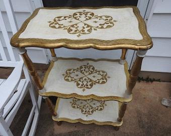 Vintage Florentine Gold White 3 Tier Wooden Shelf Italy Italian Table