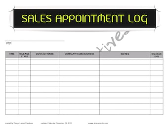 Sales Appointment Log