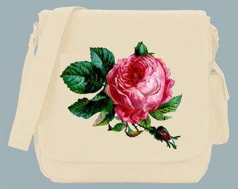 Vintage Pink Rose Illustration Canvas Messenger Bag, 15x11x4